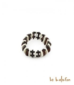 Bracelet bicolore petites lamelles en os