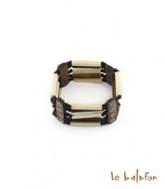Bracelet bicolore 5 rangs en os