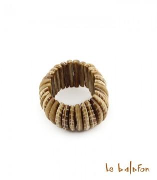 Bracelet feuille lamelles arrondies en os