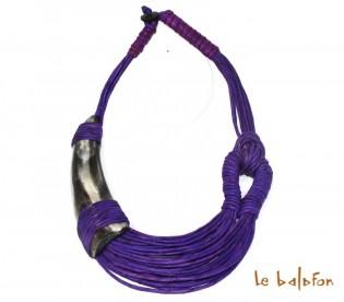 collier cuir et corne de zébu