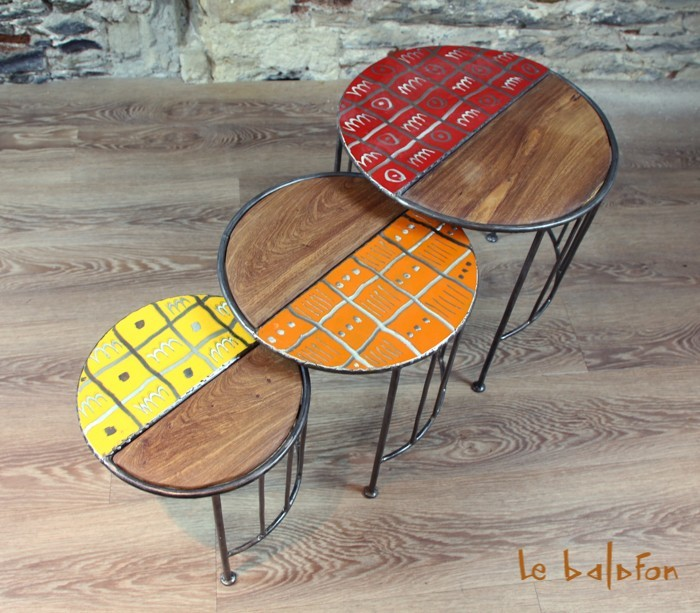 tables basses gigognes m tal bois design ethnique le balafon nantes. Black Bedroom Furniture Sets. Home Design Ideas