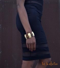 Bracelet plat bicolore en os
