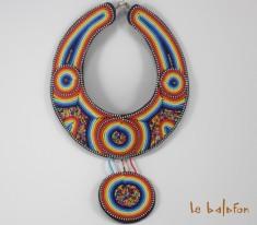 collier plastron perles ethnique Massaï