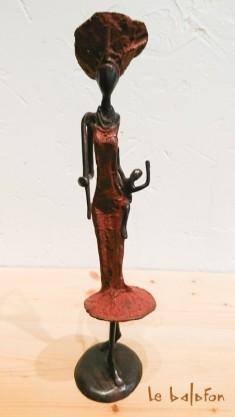 Sculpture bronze l'Elegante et l'enfant
